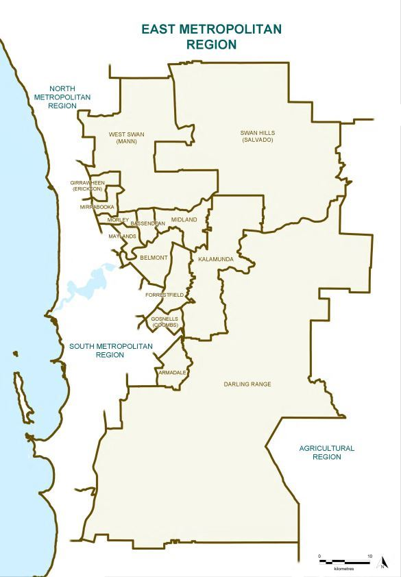 Map of the 2015 Proposed East Metropolitan Region