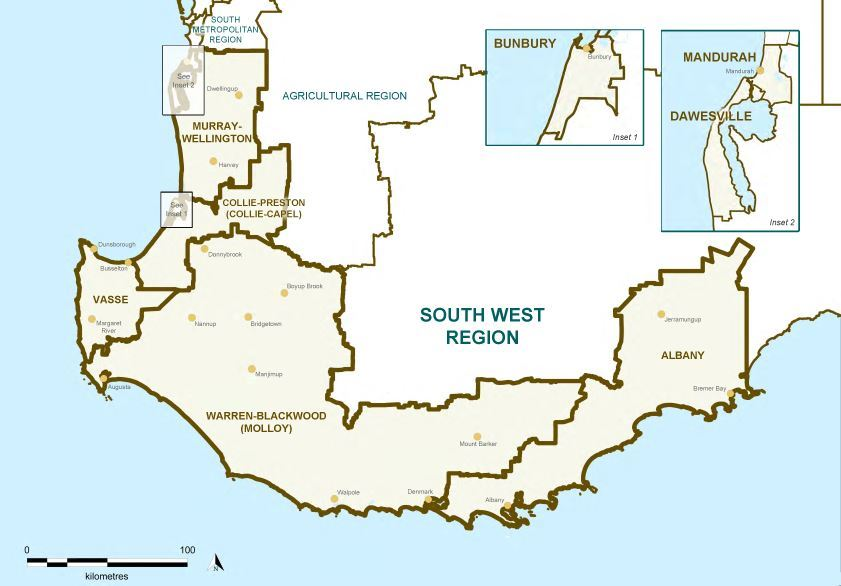 Map of the 2015 Proposed South West Region