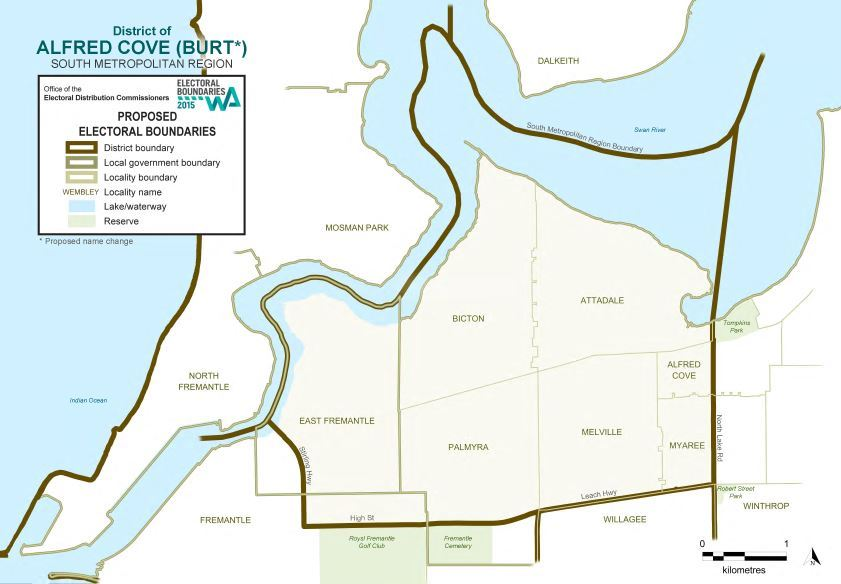 Map of 2015 Proposed Alfred Cove district