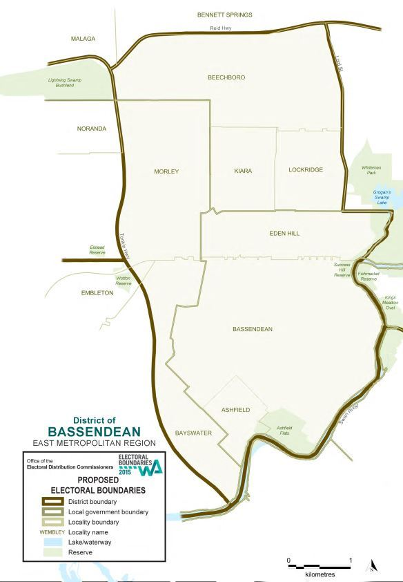 Map of 2015 Proposed Bassendean district