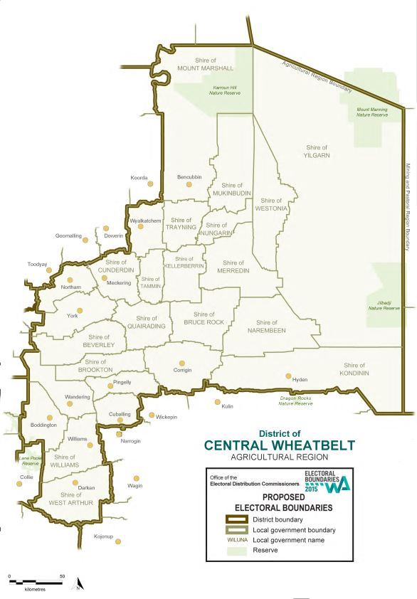 Map of 2015 Proposed Central Wheatbelt district