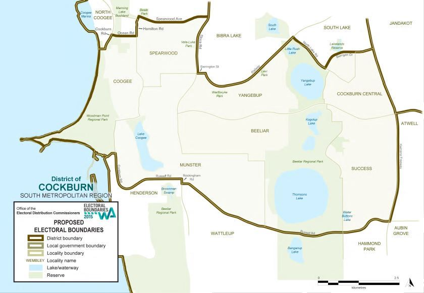 Map of 2015 Proposed Cockburn district