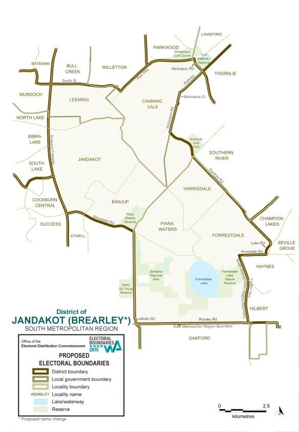 Map of 2015 Proposed Jandakot district