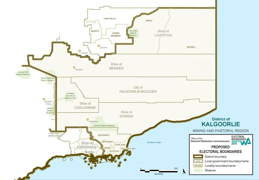 Map of 2015 Proposed Kalgoorlie district