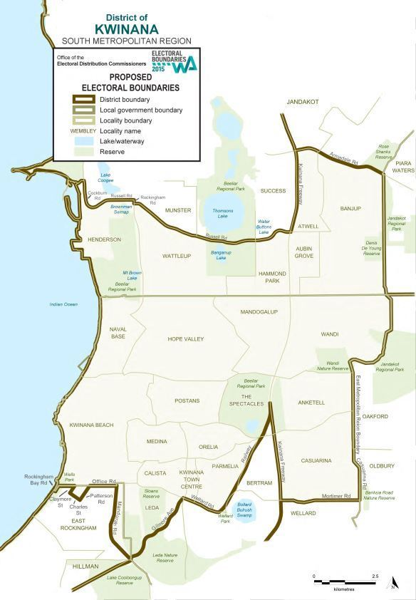 Map of 2015 Proposed Kwinana district