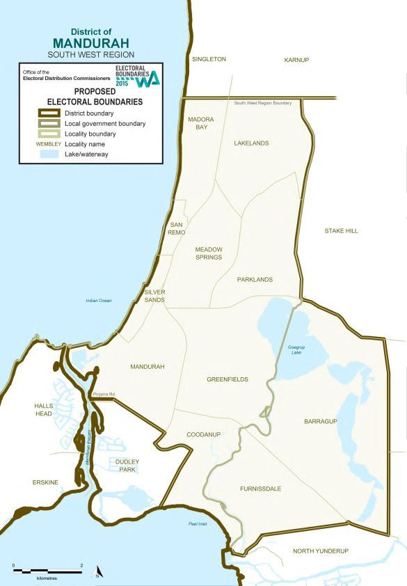 Map of 2015 Proposed Mandurah district