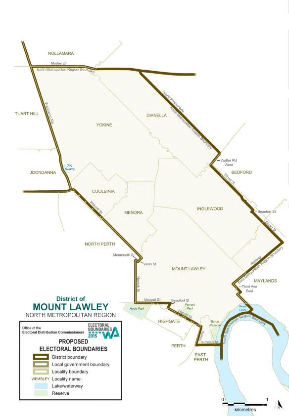 Map of 2015 Proposed Mount Lawley district