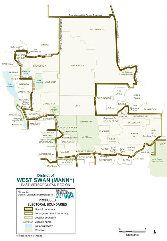 Map of 2015 Proposed West Swan district