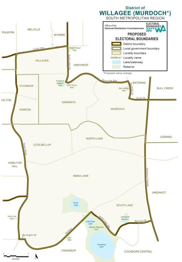 Map of 2015 Proposed Willagee district