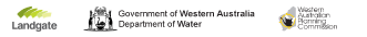 Landgate logo, Department of Water logo, WA Planning Commission logo