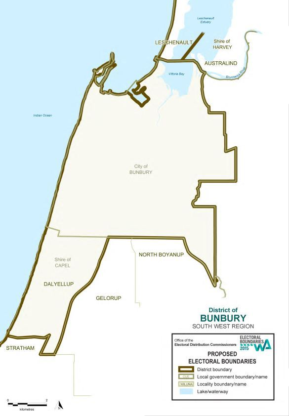 Map of 2015 Proposed Bunbury District