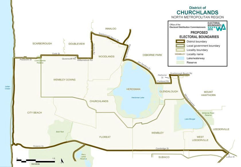 Map of 2015 Proposed Churchlands district