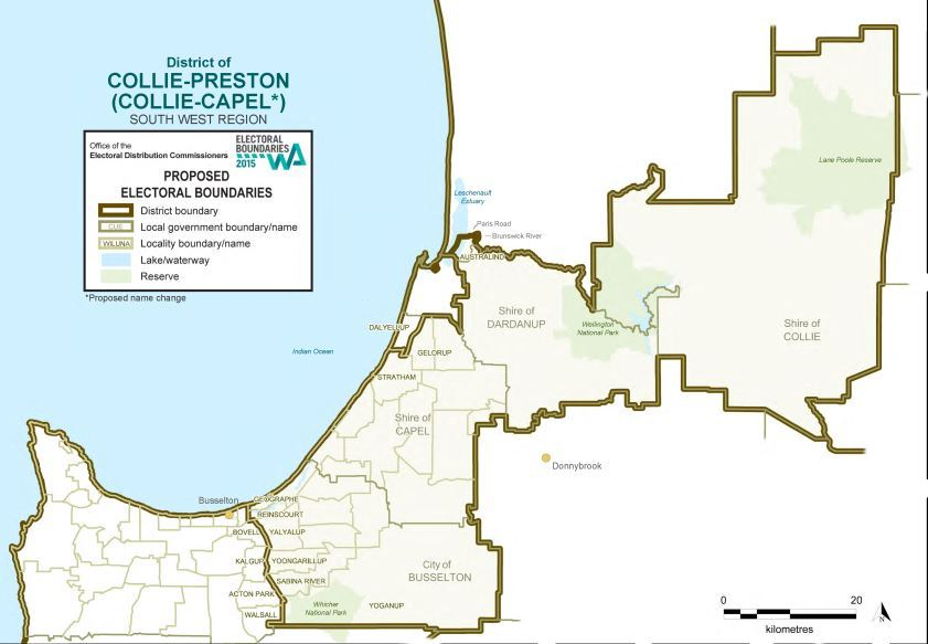 Map of 2015 Proposed Collie-Preston District