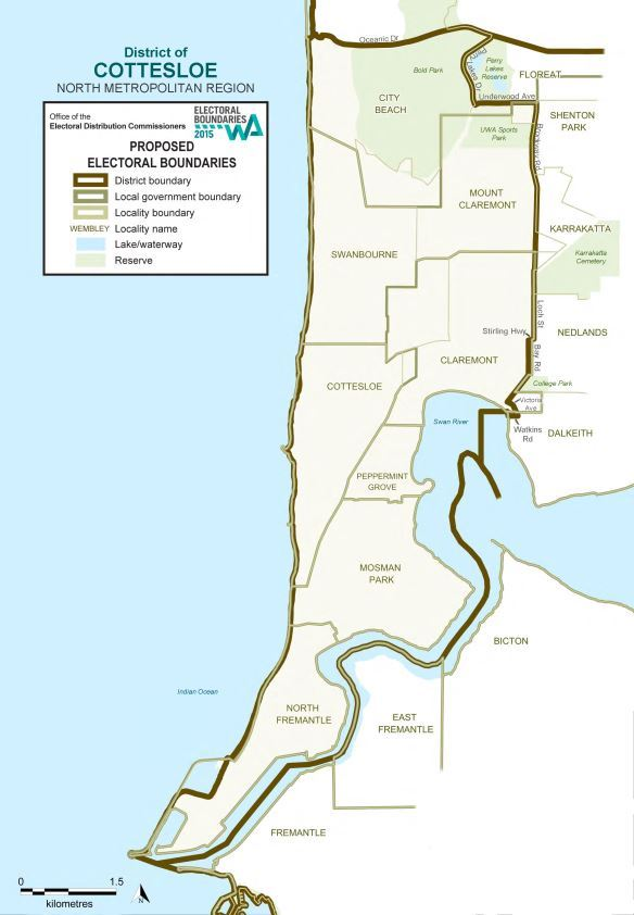 Map of 2015 Proposed Cottesloe district