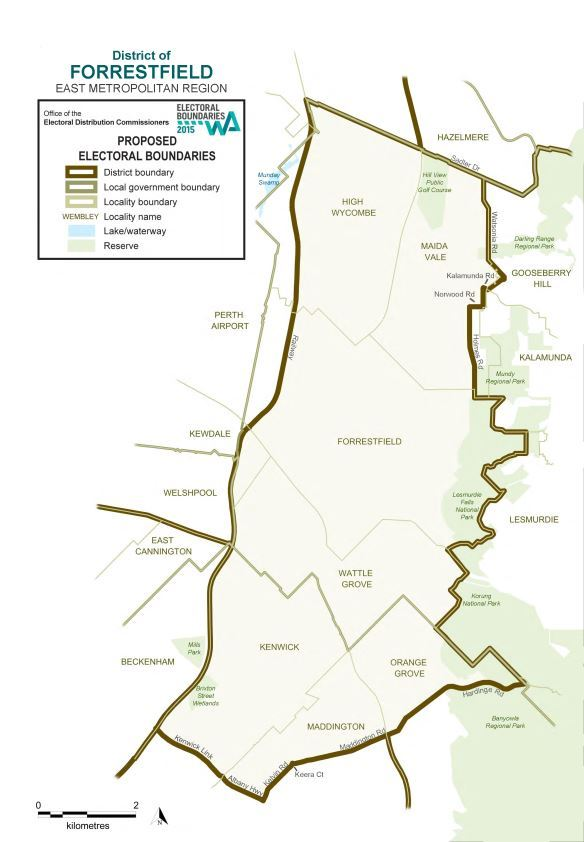 Map of 2015 Proposed Forrestfield district