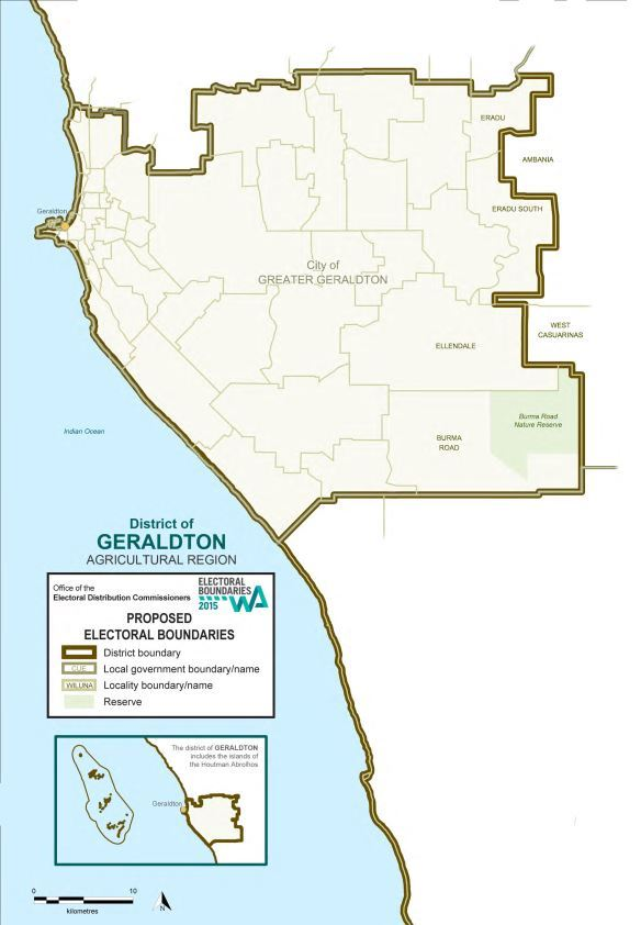 Map of 2015 Proposed Geraldton District