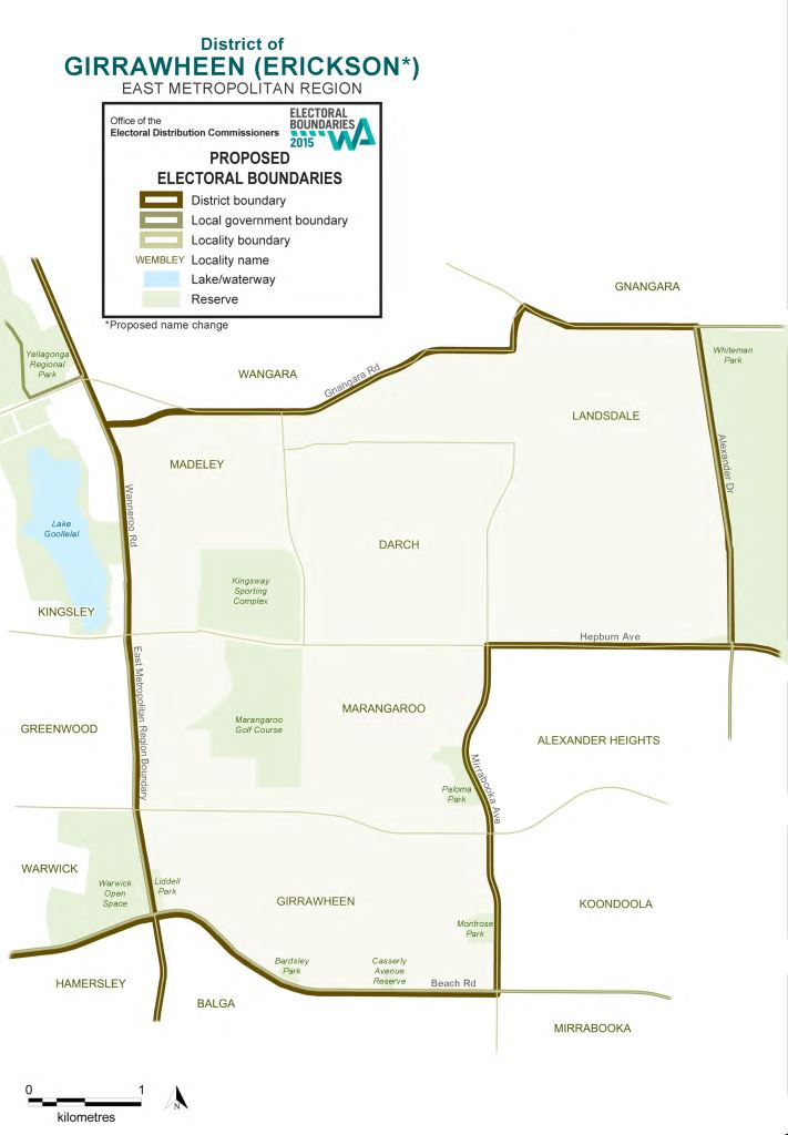 Map of 2015 Proposed Girrawheen district