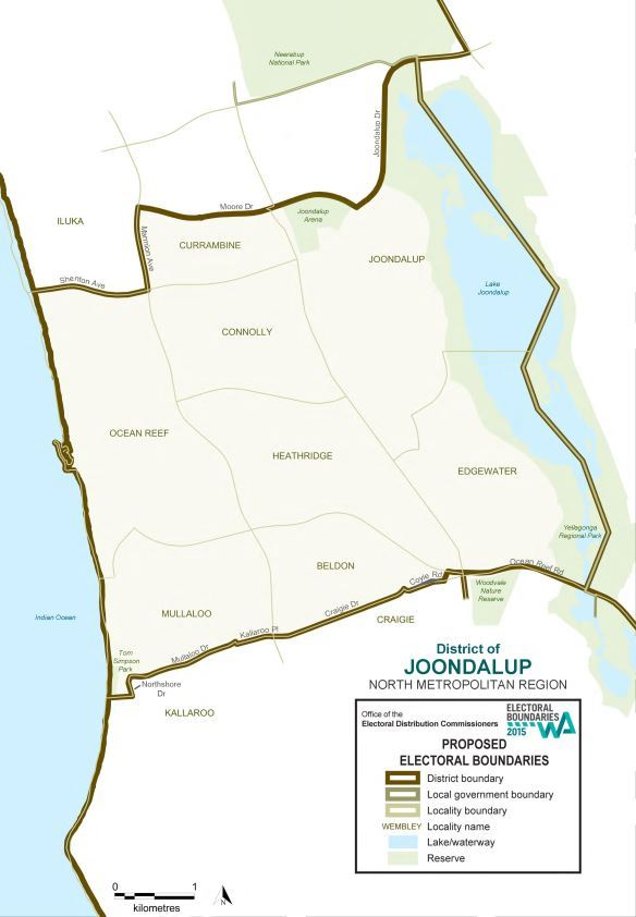 Map of 2015 Proposed Joondalup district