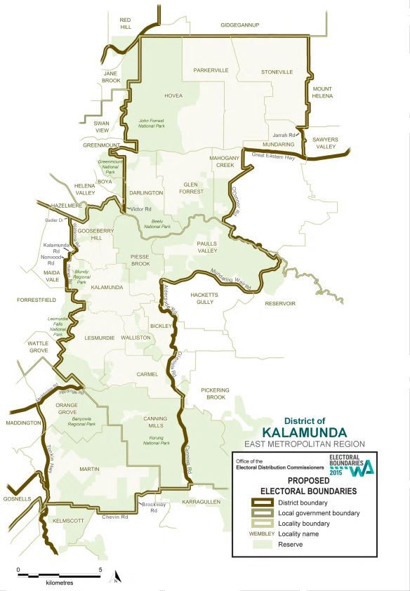 Map of 2015 Proposed Kalamunda district