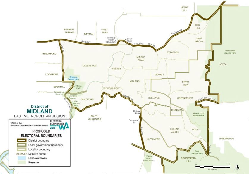 Map of 2015 Proposed Midland district