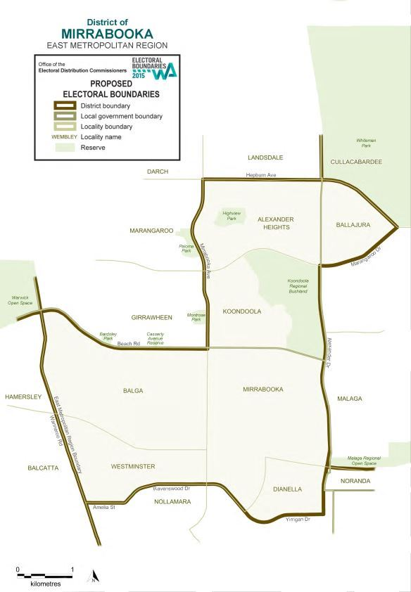 Map of 2015 Proposed Mirrabooka district
